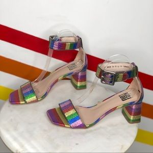 NEW Bibi Lou rainbow metallic heels size 38